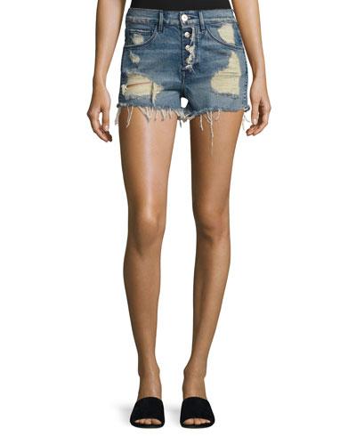 Shelter Denim Cutoff Shorts, Blue