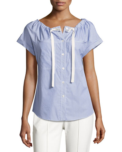 Velvela Striped Cotton Top, Blue