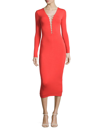 Long-Sleeve Laced Ponte Midi Dress, Scarlet