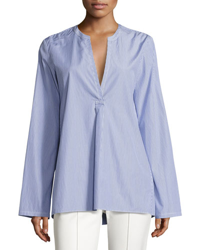 Ofeliah Taff Striped Top, Blue/White