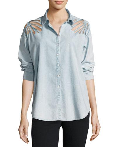 Freja Floral-Cutout Denim Shirt, Ella