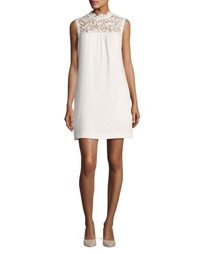Aronella Elevate Crepe Lace-Yoke Dress, White