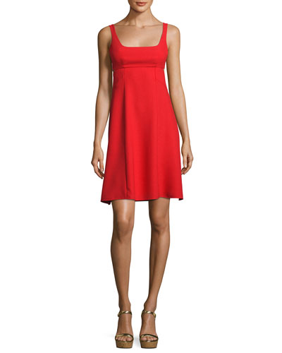 Sleeveless Crepe Bralette A-Line Dress, Scarlet