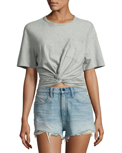Heathered Jersey Twist-Front Tee, Gray