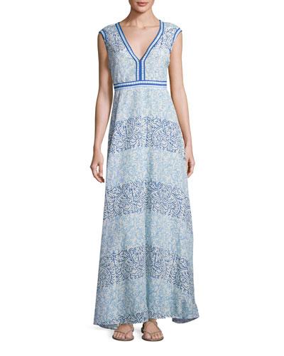Astrid Cap-Sleeve Maxi Dress, Blue
