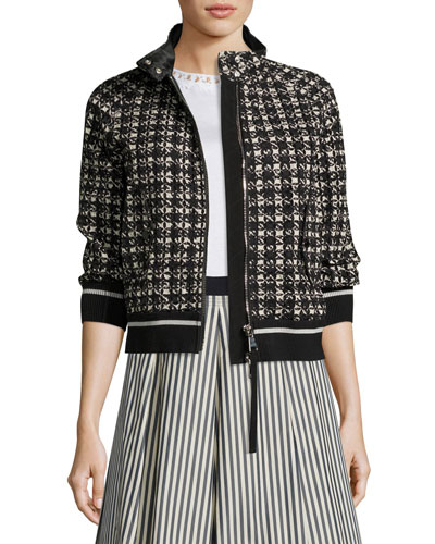 Fiadone 3/4-Sleeve Boxy Textured Jacket, Black