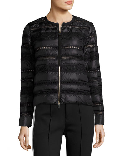 Stellaire Quilted Lace-Trim Jacket