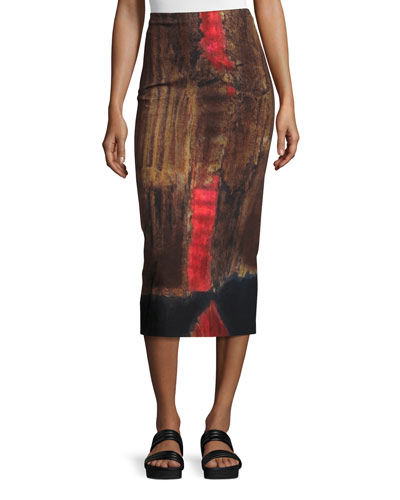 Printed Stretch-Woven Pencil Skirt, Black/Red