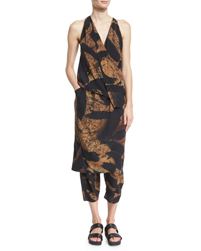 Printed Silk Fixed Wrap Dress, Black/Brown