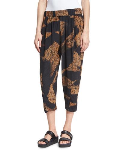 Printed Silk Cropped Pajama Pants, Black/Brown