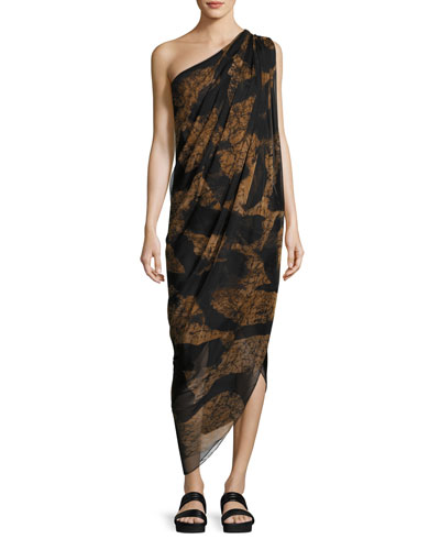 Animal-Print One-Shoulder Midi Dress, Black/Brown