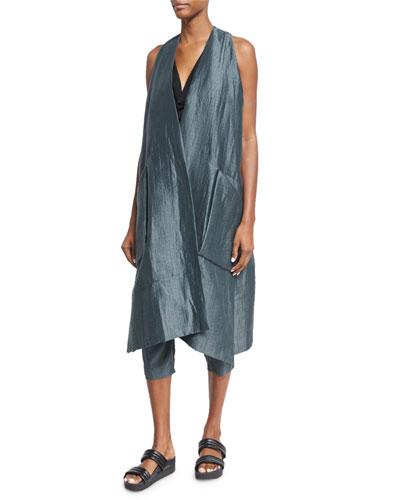 Oversized Linen-Blend Vest, Teal