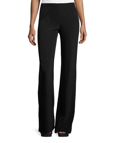 Fluid Stretch-Crepe Pants, Black