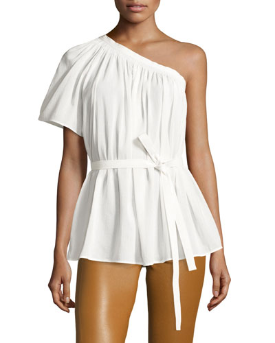 Belted Shirred One-Shoulder Top, White