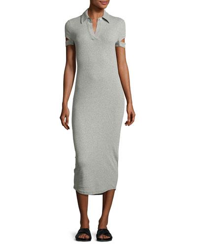 Slit-Cuff Heathered Jersey Midi Dress, Gray