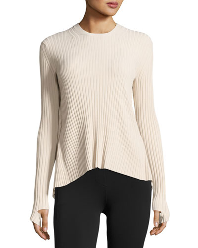 Ribbed Open Tie-Back Sweater, Metal