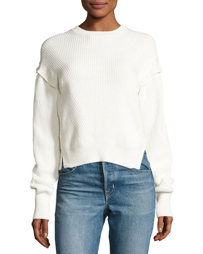 Ribbed Cotton Pullover Sweater, White