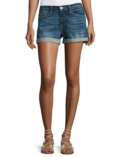 Le Cutoff Cuffed Denim Shorts, Plummer