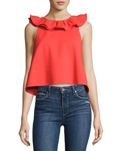 Agathe Sleeveless Ruffle Crop Top