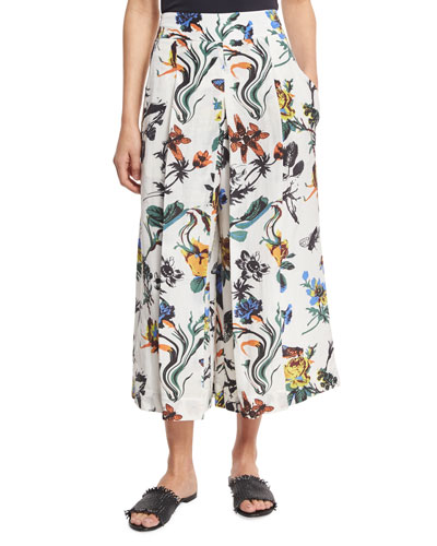Gothic Floral Linen Pleated Culottes, White/Multicolor