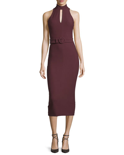 Juniper Mock-Neck Belted Midi Dress