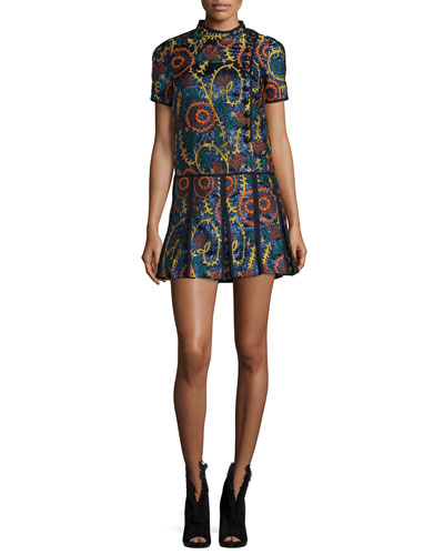 Short-Sleeve Jacquard Drop-Waist Dress, Navy