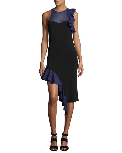 Hanging Ruffle Asymmetric-Hem Cocktail Dress