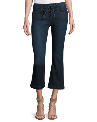 Le Crop Mini Boot-Cut Lace-Up Jeans, Hayworth