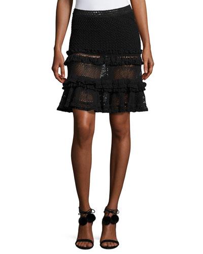 Ruffle Crochet Tiered Mini Skirt, Black