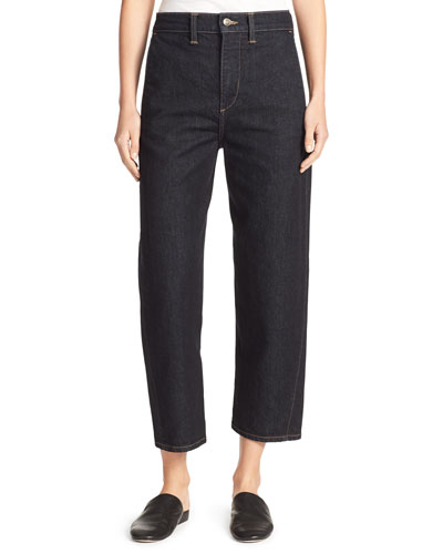 High-Rise Utility Cropped Denim Jeans, Resin Rinse Wash