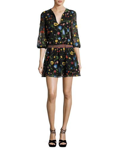 Jolene Split-Neck Smocked-Waist Mini Dress, Multicolor