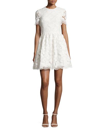 Karen Floral Lace Party Dress, Off White
