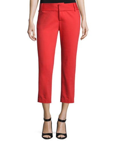 Cadence Cropped Cigarette Trousers, Bright Red