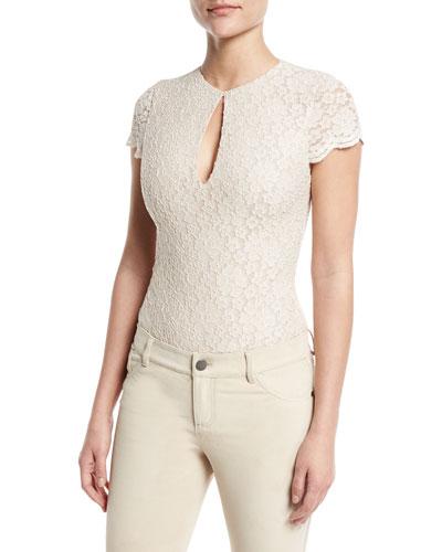 Marita Lace Cap-Sleeve Bodysuit, Gold