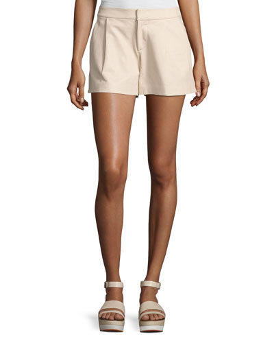 Arosa Pleated Leather Shorts, Gold
