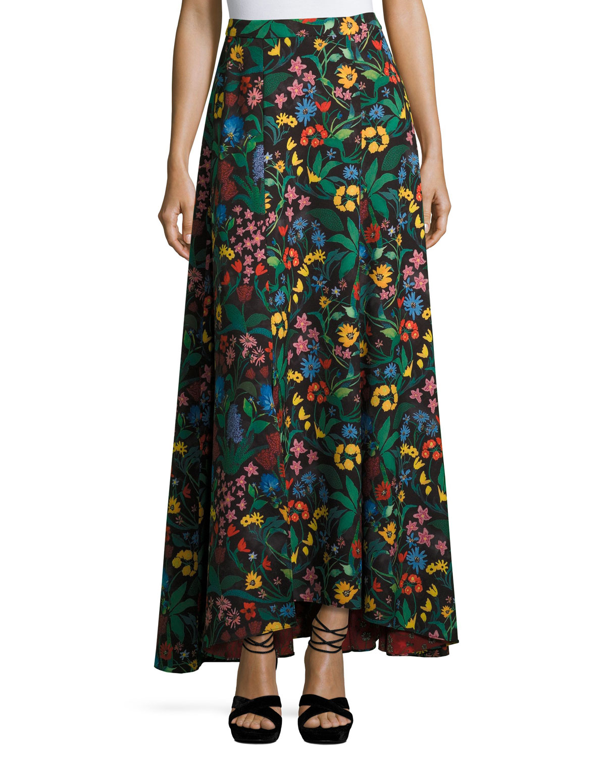 Athena High-Low Floral Maxi Skirt, Multicolor
