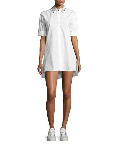 Camron Embellished-Collar Tunic Shirtdress, White