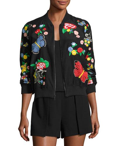 Felisa Embroidered Bomber Jacket, Black Multicolor