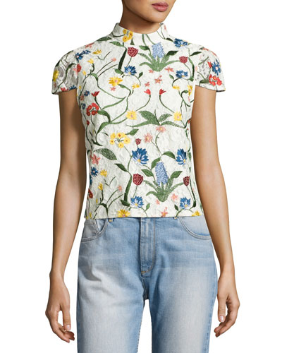 Viktoria Floral-Embroidered Lace High-Neck Top, Multicolor