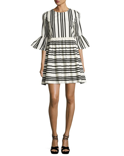 Augusta Striped Ruffle-Sleeve Dress, Black/White