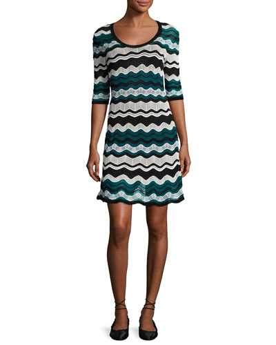 Scoop-Neck Ripple-Stitch Ribbon Knit Dress