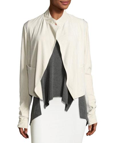 Suede Open-Front Jacket