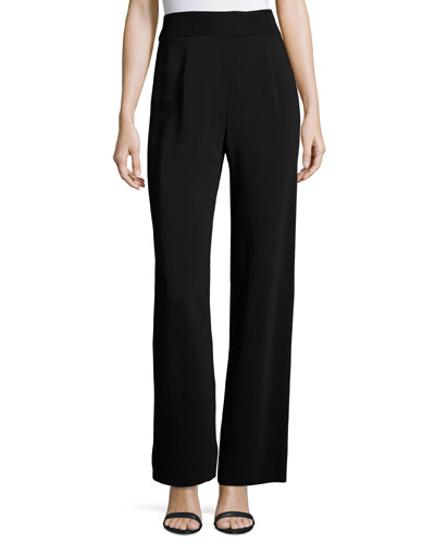 Fluid Jersey Side-Zip Pants, Black