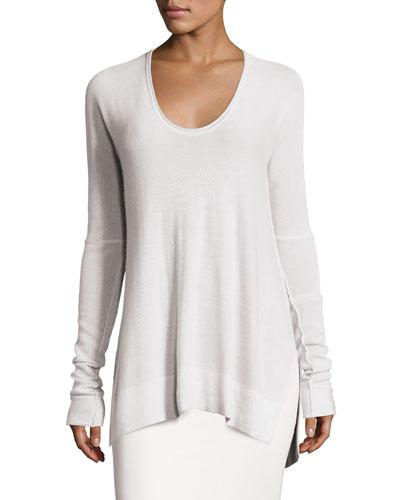 Long Knit Scoop-Neck Sweater, White Smoke