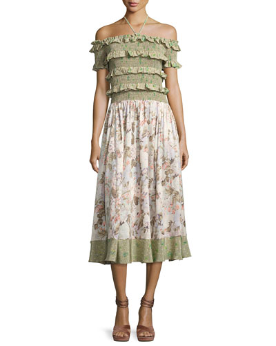 Smocked Off-the-Shoulder Halter Floral-Print Maxi Dress, Multicolor