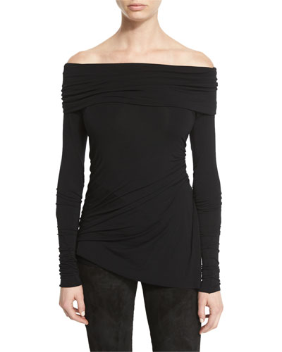 Stretch-Jersey Long-Sleeve Off-the-Shoulder Top