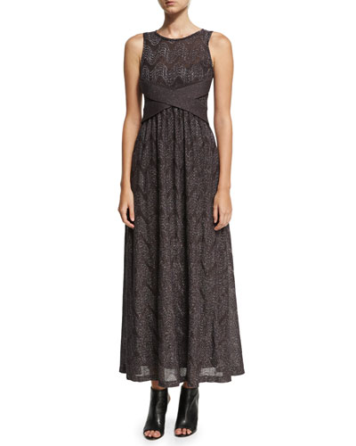 Sleeveless Lurex® Jersey Maxi Dress