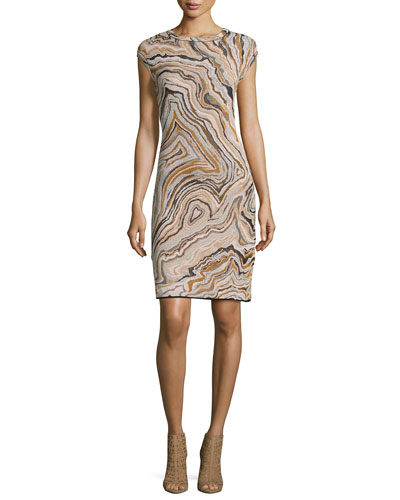 Cap-Sleeve Geode Jacquard Sheath Dress