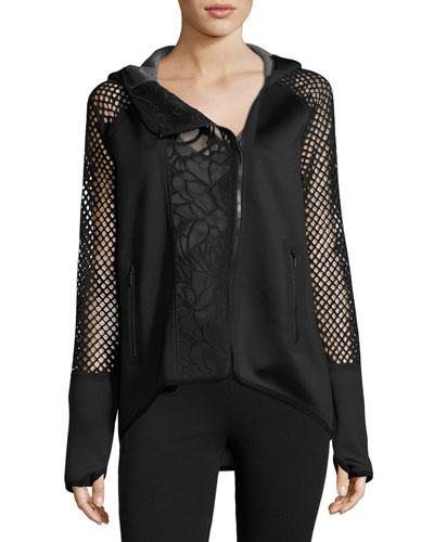 Margie Asymmetric Lace-Panel Performance Jacket