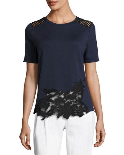 Viviana Short-Sleeve Lace-Inset Knit Top, Blue/Black